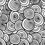 Black seamless circles line pattern. Vector illustration.Hand drawn for adult anti stress. Coloring page with high details  for relax and meditation Stock Photo