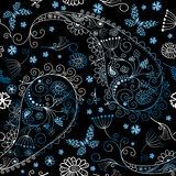 Black seamless floral pattern Stock Image