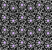 Black seamless floral pattern with lace and diamonds. On a gray background Stock Images