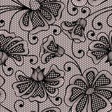 Black seamless flower pattern Royalty Free Stock Images