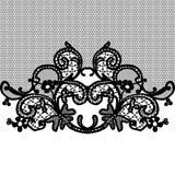 Black seamless lace. Arts celebrations crafts decorative seamless lace pattern Royalty Free Stock Photo