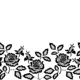 Black seamless lace border with flowers on white background stock illustration