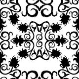 Black seamless lace floral pattern on white background. EPS Stock Image