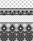 Black seamless lace pattern with fishnet. On white background Stock Images