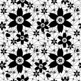 Black seamless lace pattern on white. Background Stock Photos