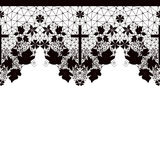 Black seamless lace pattern on white Stock Photo
