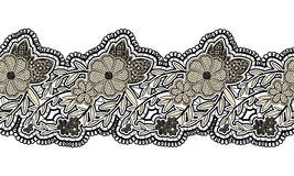 Black seamless lace ribbon  on white background. Floral seamless border for design. Stock Photography