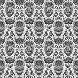 Black seamless lace skull. Day of the Dead and Mexican Dia Los Muertos background. Black lace sugar skull seamless pattern Stock Photo