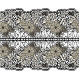 Black seamless lace wide belt on a white background. Floral horizontal pattern for design. Royalty Free Stock Photo