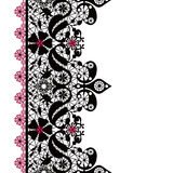 Black seamless lacy lace pattern on white Royalty Free Stock Images