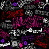 Black seamless music background Stock Images