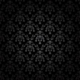 Black seamless ornament background - wallpaper with flower, crown, star, leaf Royalty Free Stock Images