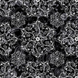 Black seamless pattern. Black seamless background with round white floral pattern (vector Royalty Free Stock Image