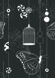 Black Seamless Pattern with Butterflies Stock Photos