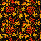 Black seamless pattern in floral folk tradition Royalty Free Stock Photography