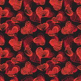 Black seamless pattern with heart shapes. Black seamless pattern with hand drawn heart shapes Royalty Free Stock Images