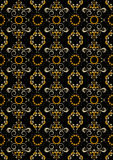 Black seamless pattern with orange flowers and silver spirals. Royalty Free Stock Photos