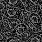 Black seamless pattern with paisley. Vector Royalty Free Stock Photos