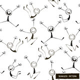 Black  seamless pattern of stick figures Stock Images
