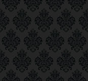 Black Seamless Repeating Vector Pattern. Elegant Design in Baroque Style Background Texture. Stock Photos