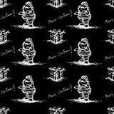 Black Seamless santa claus pattern Royalty Free Stock Image