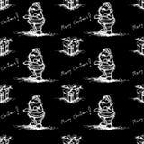 Black Seamless santa claus pattern Royalty Free Stock Image