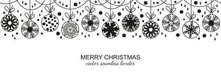 Black seamless snowflake border, white background. Black seamless snowflake border isolated on white background, Christmas design. Vector illustration, merry