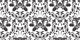 Black Seamless wallpaper. Seamless Gothic ornamental wallpaper, floral pattern, illustration Royalty Free Stock Photos