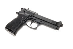 Black semi automatic handgun Royalty Free Stock Images