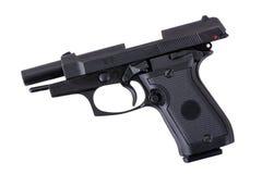 Black semi automatic handgun on a white background Royalty Free Stock Photos