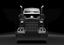 Black semi truck in the dark