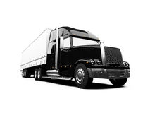 Black semi truck on white background. Isolated semi truck against white Stock Photography