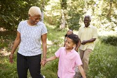 Black senior couple walking in forest with grandchildren stock photos