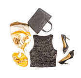 Black Sequence Tank Top with High Heel Shoes and Accessories #1 Stock Image