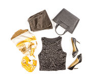 Black Sequence Tank Top, Velvet Pants, High Heel Shoes and Accessories Stock Photos