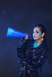 Black Sequin Jacket on Blue Fashion Make Up Asian Beautiful Mode stock photography
