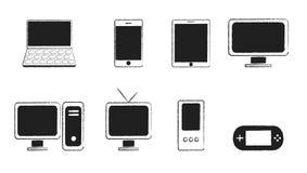 Black series electronics. Grunge black series electronics on white vector illustration