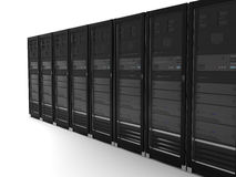 Black server. Abstract presentation of the server on earth Stock Image