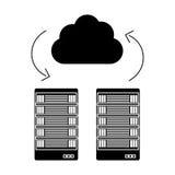 Black server banner shared web gosting. Icon,  illustration Royalty Free Stock Photography