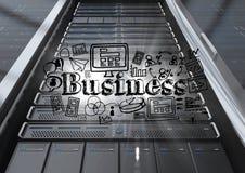 Black server with black business doodles and flares. Digital composite of Black server with black business doodles and flares Royalty Free Stock Photo