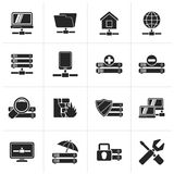 Black server, hosting and internet icons. Vector icon set Stock Images