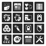 Black Server Side Computer icons. Vector Icon Set Royalty Free Stock Photo
