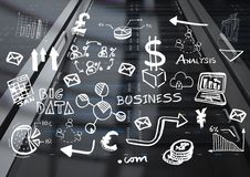 Black server with white business doodles. Digital composite of Black server with white business doodles Stock Images