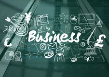 Black server with white business doodles and teal overlay. Digital composite of Black server with white business doodles and teal overlay Stock Photography