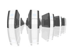 Black servers. Rendered black and silver computer-like objects on a shiny reflective floor Royalty Free Stock Image