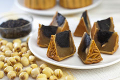 Black Sesame Flavor Mooncake with White Lotus Seed. Chinese mid autumn festival food Royalty Free Stock Photos