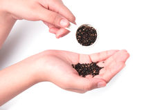Black sesame in hand , isolated on white. Background Royalty Free Stock Image