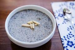 Black sesame pudding. (nameraka pudding- kurogama royalty free stock photos