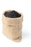 Black sesame in the sack Royalty Free Stock Photography