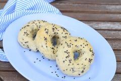 Black sesame seed bagels. Homemade black sesame seed bagels Royalty Free Stock Photo